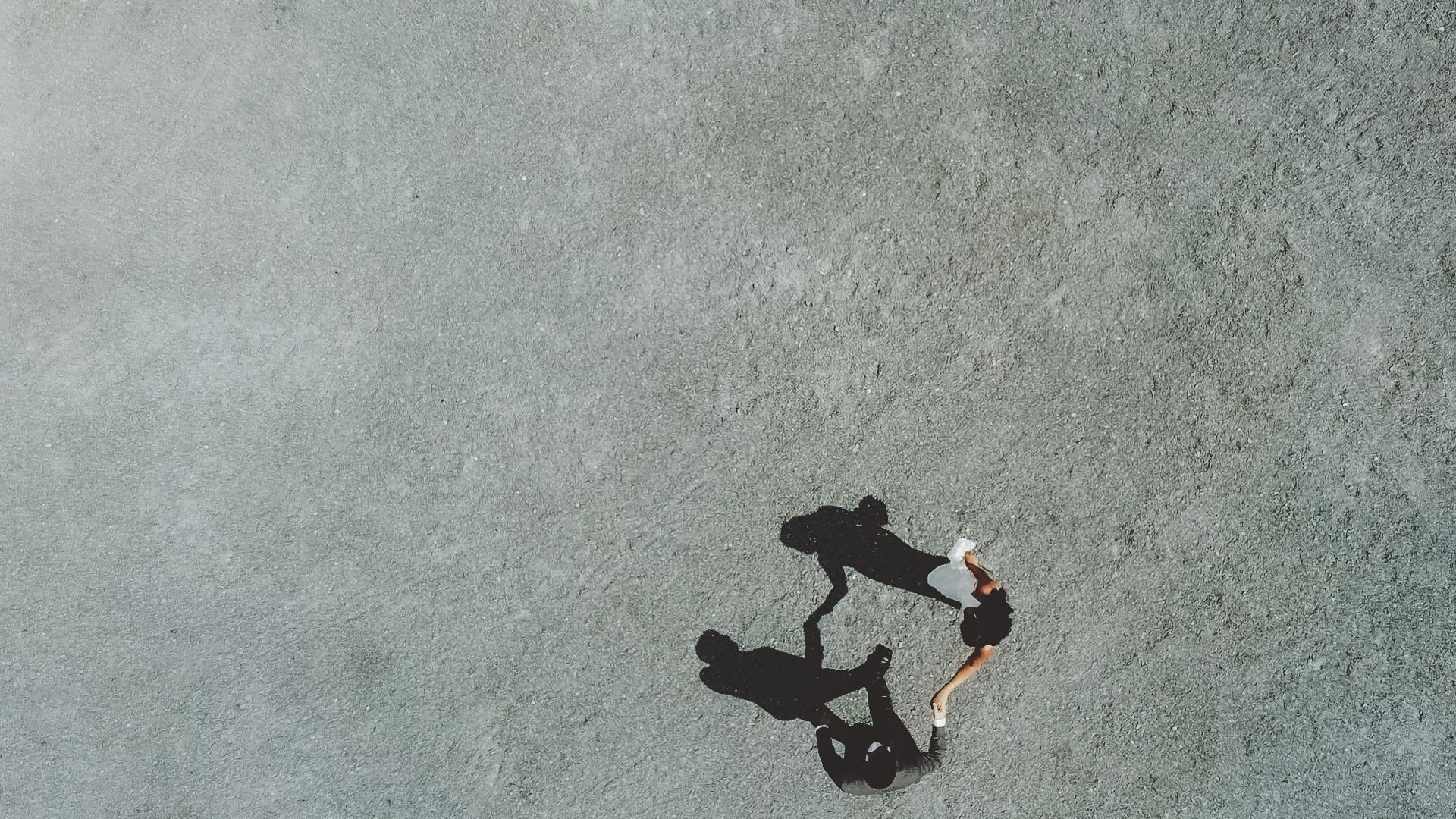 Brautpaar Luftaufnahme